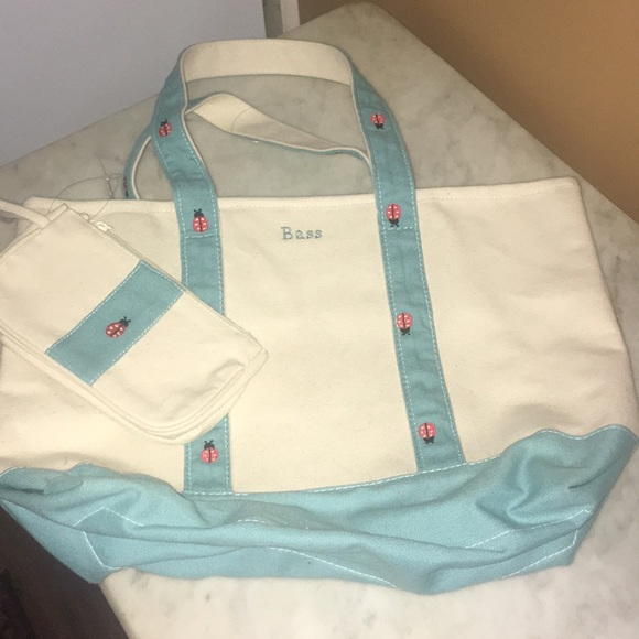 Bass Handbags - ** Bass Lady Bug Canvas Bag and Clutch Set